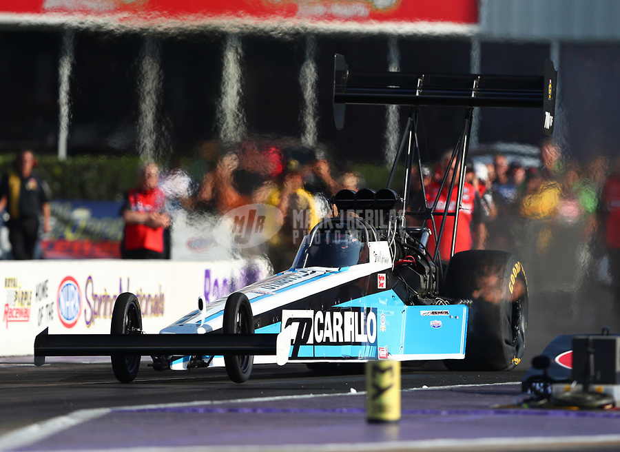 Apr 21, 2017; Baytown, TX, USA; NHRA top fuel driver Steve Chrisman during qualifying for the Springnationals at Royal Purple Raceway. Mandatory Credit: Mark J. Rebilas-USA TODAY Sports