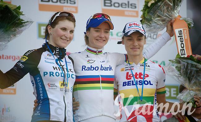 77th Flèche Wallonne 2013..podium: 1/ Marianne Vos (NLD), 2/ Elisa Longo (ITA), 3/ Ashleigh Moolman (ZAF)