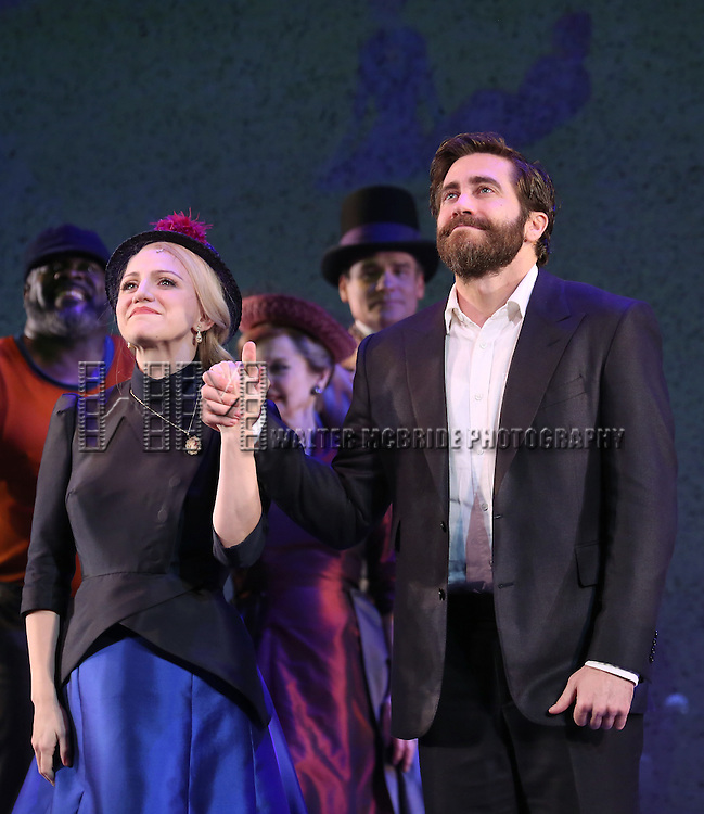 Annaleigh Ashford and Jake Gyllenhaal during the opening night performance curtain call bows for 'Sunday in the Park with George' at the Hudson Theatre on February 23, 2017 in New York City.