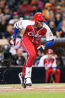 16 March 2009: #56 Leslie Anderson of Cuba runs as he hits the ball during the 2009 World Baseball Classic Pool 1 game 3 at Petco Park in San Diego, California, USA. Cuba wins 7-4 over Mexico.