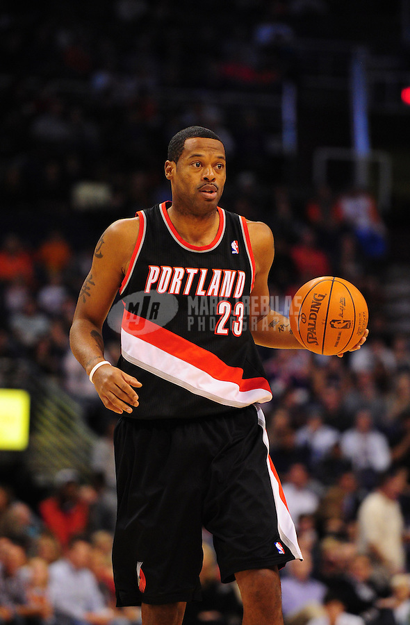Jan. 6, 2012; Phoenix, AZ, USA; Portland Trail Blazers center Marcus Camby controls the ball in the first quarter against the Phoenix Suns at the US Airways Center. Mandatory Credit: Mark J. Rebilas-.