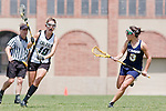 Los Angeles, CA 04/18/10 - Nicole Crayton (UC Davis # 3) and Bonnie Burtis (Cal Poly #10) in action during the 2010 Western Women Lacrosse League Championship game between UC Davis and Cal Poly SLO for third place, hosted by UCLA.  UC Davis edged Cal Poly SLO 8-7 in overtime.