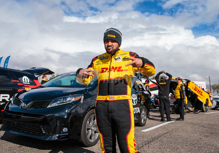 Feb 22, 2019; Chandler, AZ, USA; NHRA funny car driver J.R. Todd reacts during qualifying for the Arizona Nationals at Wild Horse Pass Motorsports Park. Mandatory Credit: Mark J. Rebilas-USA TODAY Sports