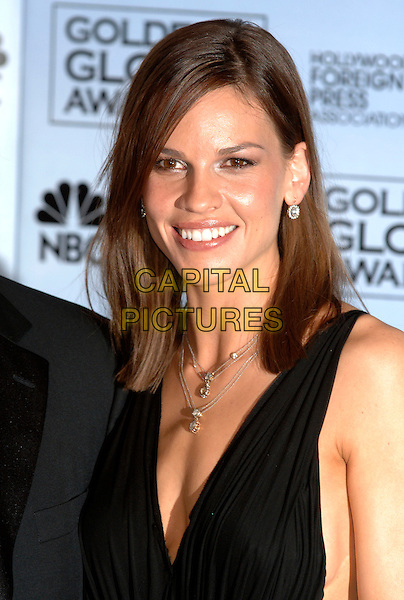 HILARY SWANK.63rd Annual Golden Globe Awards .held at the Beverly Hills Hilton, .Beverly Hills, Califronia, USA, .January 16th 2006..globes press room portrait headshot.Ref: PL.www.capitalpictures.com.sales@capitalpictures.com.©Phil Loftus/Capital Pictures