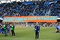 San Jose, CA - Saturday May 05, 2018: TIFO during a Major League Soccer (MLS) match between the San Jose Earthquakes and the Portland Timbers at Avaya Stadium.