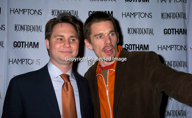 Jason Binn and Ethan Hawke..at the Gotham and LA Confidential' s Magazines anniversary on February 5, 2004 at Gotham Hall. Photo by ..Robin Platzer, Twin Images