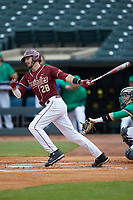 Dylan Busby (28) of the Florida State Seminoles follows through on his swing against the Notre Dame Fighting Irish in Game Four of the 2017 ACC Baseball Championship at Louisville Slugger Field on May 24, 2017 in Louisville, Kentucky. The Seminoles walked-off the Fighting Irish 5-3 in 12 innings. (Brian Westerholt/Four Seam Images)