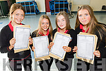 L-R Eimear O'Donoghue, Maria Nix, Ciara O'Connor and Lucy O'Mahony all delighted after getting their Junior Cert results on Wednesday Sept 12 at Mean Scoil Nua, Castlegregory.