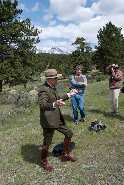 Long-time NPS ranger, Ferrell Atkins, story teller, talk, interpretation, Moraine Park, Rocky Mountain National Park, Colorado, USA
