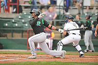 Dayton Dragons right fielder Michael Beltre (36) swings at pitch against the Dayton Dragons at Community Field on May 3, 2018 in Burlington, Iowa.  (Dennis Hubbard/Four Seam Images)