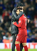 30th January 2019, Anfield, Liverpool, England; EPL Premier League football, Liverpool versus Leicester City; Liverpool manager Jurgen Klopp embraces Mohamed Salah of Liverpool after the final whistle