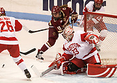 Caitrin Lonergan (BC - 11), Victoria Hanson (BU - 33), Victoria Bach (BU - 12) - The Boston College Eagles defeated the Boston University Terriers 3-2 in the first round of the Beanpot on Monday, January 31, 2017, at Matthews Arena in Boston, Massachusetts.
