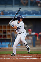 Charlotte Stone Crabs second baseman Justin Bridgman (24) at bat during a game against the Palm Beach Cardinals on April 20, 2018 at Charlotte Sports Park in Port Charlotte, Florida.  Charlotte defeated Palm Beach 4-3.  (Mike Janes/Four Seam Images)