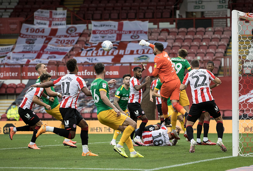Brentford's goalkeeper David Raya punches clear<br /> <br /> Photographer Andrew Kearns/CameraSport<br /> <br /> The EFL Sky Bet Championship - Brentford v Preston North End - Wednesday 15th July 2020 - Griffin Park - Brentford <br /> <br /> World Copyright © 2020 CameraSport. All rights reserved. 43 Linden Ave. Countesthorpe. Leicester. England. LE8 5PG - Tel: +44 (0) 116 277 4147 - admin@camerasport.com - www.camerasport.com