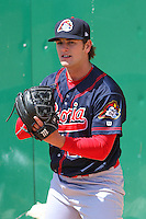 Peoria Chiefs pitcher Will Anderson (21) warms up in the bullpen prior to a game against the Wisconsin Timber Rattlers on April 25th, 2015 at Fox Cities Stadium in Appleton, Wisconsin.  Wisconsin defeated Peoria 2-0.  (Brad Krause/Four Seam Images)