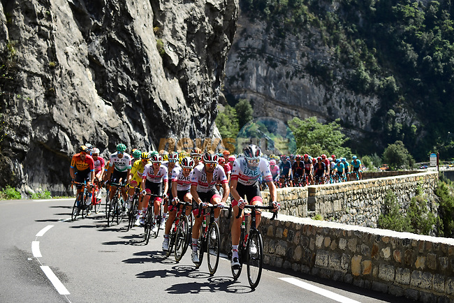 The peloton led by UAE Team Emirates climb Col de Turini during Stage 2 of Tour de France 2020, running 186km from Nice Haut Pays to Nice, France. 30th August 2020.<br /> Picture: ASO/Alex Broadway | Cyclefile<br /> All photos usage must carry mandatory copyright credit (© Cyclefile | ASO/Alex Broadway)
