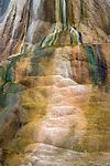 Yellowstone National Park, Wyoming: A pattern detail of Orange Spring Mound, a travertine mound near Mammoth Hot Springs
