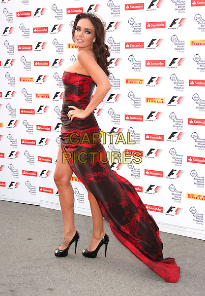 Tamara Ecclestone.Attending the F1 Party in aid of Great Ormond Street Hospital Children's Charity, Natural History Museum, London, England..6th July 2011.full length black red hand on hip maxi side looking over shoulder train dress strapless slit split.CAP/ROS.©Steve Ross/Capital Pictures