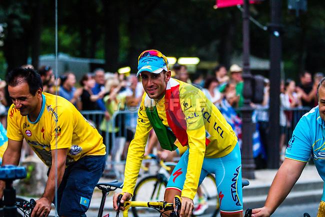 Vincenzo Nibali (ITA) of Astana Pro Team, Rider parade on the Champs-Élysées, Tour de France, Stage 21: Évry > Paris Champs-Élysées, UCI WorldTour, 2.UWT, Paris Champs-Élysées, France, 27th July 2014, Photo by Thomas van Bracht