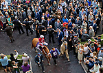 HALLANDALE BEACH, FL - JANUARY 27: Gun Runner, with Florent Geroux riding, exits the paddock to enter the track on Pegasus World Cup Invitational Day at Gulfstream Park Race Track on January 27, 2018 in Hallandale Beach, Florida. (Photo by Scott Serio/Eclipse Sportswire/Getty Images)