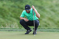 Bethesda, MD - July 2, 2017: Kyle Stanley lines up his putt during final round of professional play at the Quicken Loans National Tournament at TPC Potomac  in Bethesda, MD, July 2, 2017.  (Photo by Elliott Brown/Media Images International)