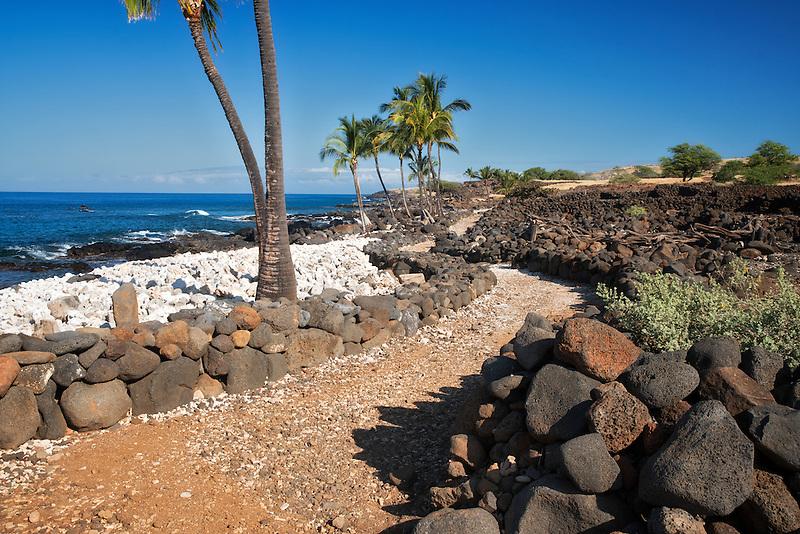 Path and ocean at Lapakahi State historical Park. Hawaii Island