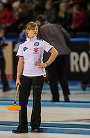 Glasgow. SCOTLAND. Italy's, Stefania MENARDI,  &quot;Round Robin&quot; Games. Le Gruy&egrave;re European Curling Championships. 2016 Venue, Braehead  Scotland<br /> Monday  21/11/2016<br /> <br /> [Mandatory Credit; Peter Spurrier/Intersport-images]