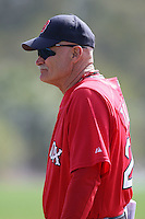 March 18, 2010:  Coach Dave Tomlin of the Boston Red Sox organization during Spring Training at Ft.  Myers Training Complex in Fort Myers, FL.  Photo By Mike Janes/Four Seam Images