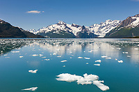 Ice filled waters of Barry Arm, Harriman and Cataract glaciers in the distance, Chugach mountains, Chugach National forest, Prince William Sound, southcentral, Alaska.