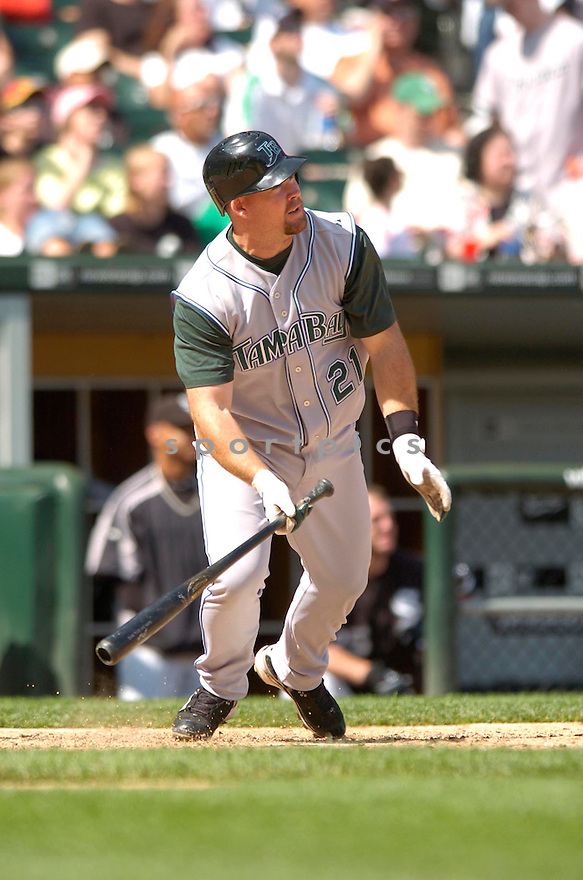 TY WIGGINTON, of the Tampa Bay Devil Rays , in action during the  Devil Rays  game against the Chicago White Sox  in Chicago, IL, on May 27,  2007...Devil Rays  win 11-5...DAVID DUROCHIK / SPORTPICS.
