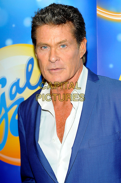 David Hasselhoff .at launch of GalaBingo.com's new scratchcard, Vanilla, London, England, UK, 8th February 2013..portrait headshot  blue jacket white shirt .CAP/CJ.©Chris Joseph/Capital Pictures.