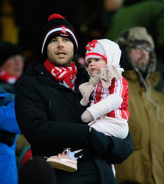 Lincoln City fans enjoy the pre-match atmosphere<br /> <br /> Photographer Chris Vaughan/CameraSport<br /> <br /> The EFL Sky Bet League Two - Saturday 15th December 2018 - Lincoln City v Morecambe - Sincil Bank - Lincoln<br /> <br /> World Copyright © 2018 CameraSport. All rights reserved. 43 Linden Ave. Countesthorpe. Leicester. England. LE8 5PG - Tel: +44 (0) 116 277 4147 - admin@camerasport.com - www.camerasport.com