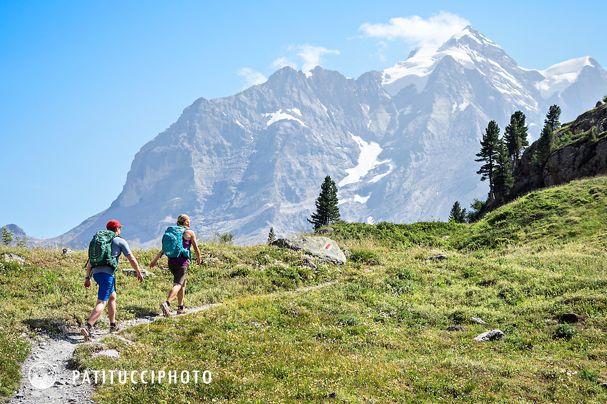 Hiking above Lauterbrunnen Valley in the Berner Oberland's Jungfrau Region, Switzerland