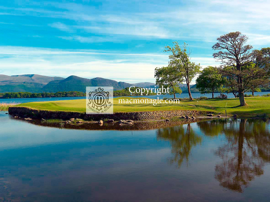 The spectacular 10th green surround by Lough Lein on the Killeen Course  at Killarney Golf and Fishing Club home of the 3 Irish Open from July 29-Aug 1st..Picture by Don MacMonagle