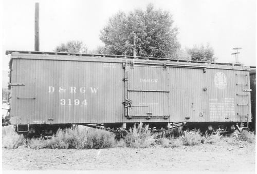 Side view of box car #3194 at Durango.<br /> D&amp;RGW  Durango, CO  Taken by Best, Gerald M. - 8/5/1940
