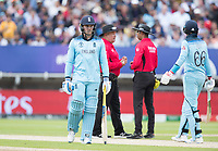 Jason Roy (England)  can't quite believe he has been adjudged caught behind during Australia vs England, ICC World Cup Semi-Final Cricket at Edgbaston Stadium on 11th July 2019