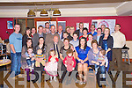 Eddie and Ann Keogh, Lissivigeen, Killarney, pictured with their family and friends as they celebrated their 40th wedding anniversary in the Inn Between Bar, Beaufort, on Friday night.