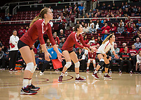 Stanford, CA - October 18, 2019: Meghan McClure, Caitlin Keefe, Morgan Hentz at Maples Pavilion. The No. 2 Stanford Cardinal swept the Colorado Buffaloes 3-0.