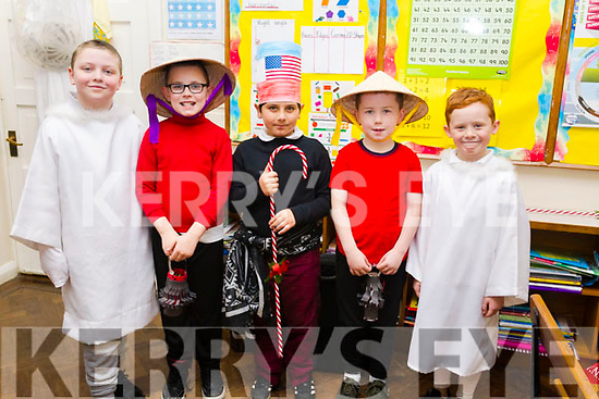 """Moyderwells National School's 2nd class getting ready for their """"Children of the World"""" Christmas play on Wednesday morning. L-r Adam Kenneth Robinson, Andrew O'Connor, David Balog, Marcus Conway and Cathal Carr."""