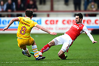 Fleetwood Town's Conor McLaughlin is challenged by Millwall's Ben Thompson<br /> <br /> Photographer Richard Martin-Roberts/CameraSport<br /> <br /> The EFL Sky Bet League One - Fleetwood Town v Millwall - Monday 17th April 2017 - Highbury Stadium - Fleetwood<br /> <br /> World Copyright &copy; 2017 CameraSport. All rights reserved. 43 Linden Ave. Countesthorpe. Leicester. England. LE8 5PG - Tel: +44 (0) 116 277 4147 - admin@camerasport.com - www.camerasport.com