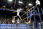 LOS ANGELES - MAY 5:  Kyle Ensing #5 of the Long Beach State 49ers spikes the ball against the UCLA Bruins during the Division 1 Men's Volleyball Championship on May 5, 2018 at Pauley Pavilion in Los Angeles, California. The Long Beach State 49ers defeated the UCLA Bruins 3-2. (Photo by John W. McDonough/NCAA Photos via Getty Images)
