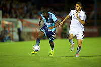 Myles Weston of Wycombe Wanderers  takes on Anthony Straker of Aldershot Town during the Friendly match between Aldershot Town and Wycombe Wanderers at the EBB Stadium, Aldershot, England on 26 July 2016. Photo by Alan  Stanford.