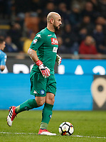 Calcio, Serie A: Inter - Napoli, Milano, stadio Giuseppe Meazza (San Siro), 11 marzo 2018.<br /> Napoli's goalkeeper Jos&egrave; Manuel Reina in action during the Italian Serie A football match between Inter Milan and Napoli at Giuseppe Meazza (San Siro) stadium, March 11, 2018.<br /> UPDATE IMAGES PRESS/Isabella Bonotto