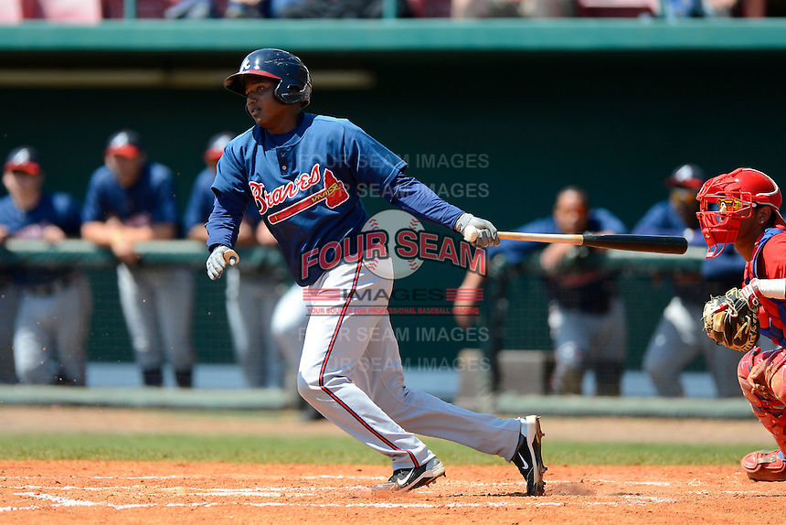 Atlanta Braves infielder Ronald Luna #39 during a minor league Spring Training game against the Philadelphia Phillies at Al Lang Field on March 14, 2013 in St. Petersburg, Florida.  (Mike Janes/Four Seam Images)