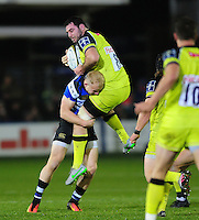 Tomas Leonardi of Leicester Tigers is tackled by Will Homer of Bath Rugby. Anglo-Welsh Cup match, between Bath Rugby and Leicester Tigers on November 4, 2016 at the Recreation Ground in Bath, England. Photo by: Patrick Khachfe / Onside Images