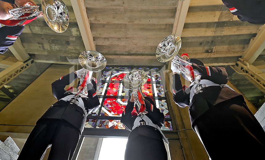 Ohio State University Marching Band members take advantage of the acoustics beneath the stands to play before the game against Western Michigan at Ohio Stadium on September 26, 2015. (Chris Russell/Dispatch Photo)