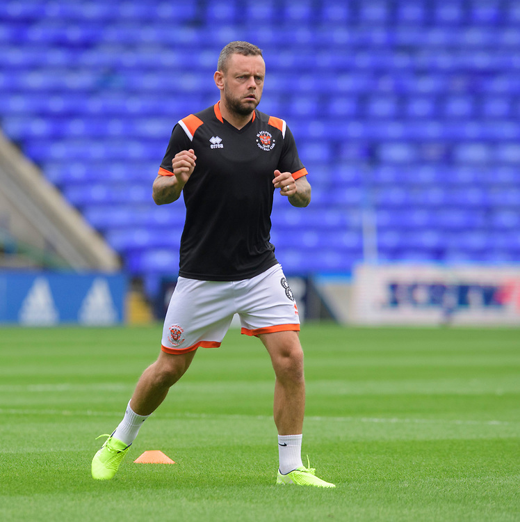 Blackpool's Jay Spearing during the pre-match warm-up<br /> <br /> Photographer Chris Vaughan/CameraSport<br /> <br /> The EFL Sky Bet League One - Coventry City v Blackpool - Saturday 7th September 2019 - St Andrew's - Birmingham<br /> <br /> World Copyright © 2019 CameraSport. All rights reserved. 43 Linden Ave. Countesthorpe. Leicester. England. LE8 5PG - Tel: +44 (0) 116 277 4147 - admin@camerasport.com - www.camerasport.com