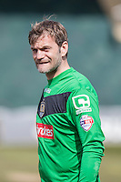 Roy Carroll of Notts County walks onto the field for the Sky Bet League 2 match between Newport County and Notts County at Rodney Parade, Newport, Wales on 30 April 2016. Photo by Mark  Hawkins / PRiME Media Images.