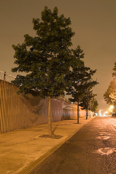 Mysterious Street Scene at Night with Trees and Metal Fence,  in the Vinegar Hill Neighborhood of Brooklyn, New York City, New York State, USA