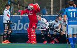 UTRECHT - strafcorner met keeper Philip van Leeuwen (Adam) , Teun Rohof (Adam) , Wiegert Schut (Adam)  tijdens de hoofdklasse hockeywedstrijd mannen, Kampong-Amsterdam (4-3).  COPYRIGHT KOEN SUYK